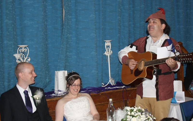 The Wandering Minstrel of MinstrelGreetings.com performing a Real Singing Telegram for a wedding in Sheffield, and across the UK and for DIY singing telegrams worldwide